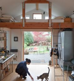 Easy to Build Tiny House Plans! This tiny house design-build video workshop shows how… Small Space Living, Tiny Living, Living Spaces, Garage Turned Into Living Space, Living Room, Compact Living, Living Area, Old Garage, Small Garage