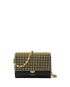 V33TG Michael Kors Collection Yasmeen Small Studded Clutch Bag, Black/Gold