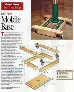 Drill Press Mobile Base Plans - Drill Press Tips, Jigs and Fixtures | WoodArchivist.com