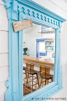 blue mirror at 99 Steps cottage by Jane Coslick - seen at the lettered cottage. :)