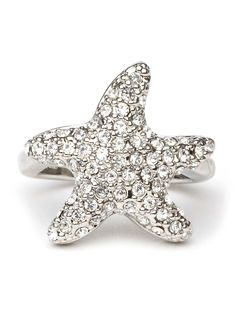 This striking ring is both coolly celestial and seafaring chic. Shaped like a playful starfish, it's made from sleek silver and—here's the glam part—a stunning array of glitzy crystals.