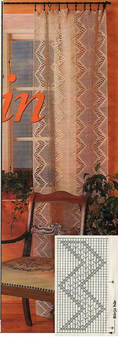 Kira scheme crochet: Scheme crochet no. Filet Crochet, Thread Crochet, Crochet Motif, Crochet Designs, Crochet Doilies, Crochet Lace, Crochet Stitches, Crochet Curtain Pattern, Crochet Curtains