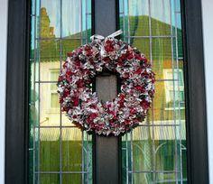 Christmas Rag Wreath.  Cut fabric into squares & push into wreath form. Super easy!