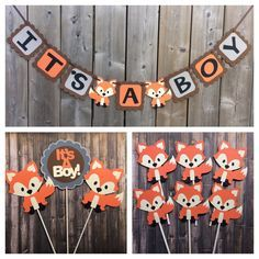 Woodland Baby Shower Decorations, Games And Invitations! Print My Baby Shower - Baby Shower Themes + Ideas - IT'S A BOY Fox Banner, Fox Shower Banner, Fox Themed Baby Shower decorations, Orange Grey Fox ban - Idee Baby Shower, Shower Bebe, Baby Shower Fall, Baby Shower Cupcakes, Baby Boy Shower, Baby Shower Gifts, Baby Shower Banners, Cupcakes For Boys, Baby Sprinkle