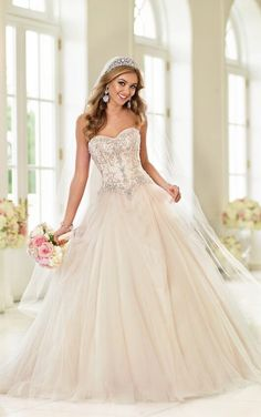 Today's Bride and Formal Wear-For brides wanting a dramatic walk down the aisle, this soft Tulle over Satin ball gown wedding dress from the Stella York bridal gown collection is the perfect fit. 2015 Wedding Dresses, Bridal Dresses, Wedding Gowns, Bridesmaid Dresses, Lace Wedding, Dresses 2016, Modest Wedding, Mermaid Wedding, Dresses Online