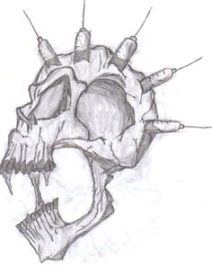 Heroin Skull by chronicdrawer on DeviantArt Easy Drawings, Tattoo Drawings, Tattoos, Barbed Wire Drawing, Drug Free Posters, Drawing Sketches, Sketching, Friend Drawing, Easy Graffiti