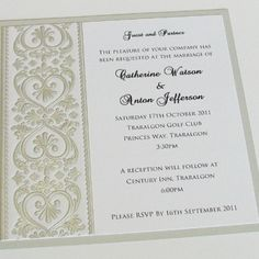 embossed wedding invitation (can change colour)