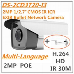 81.00$  Watch now - http://alince.worldwells.pw/go.php?t=32620918815 - Multi language DS-2CD3T20-I3 2MP 1/2.7'' CMOS IR ICR EXIR Bullet Network IP Camera IR 30M H.264 1080P Full-HD Day & night POE 81.00$
