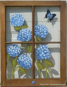 Panes of Art, Barn Quilts, Hand Painted Windows, Window Art, Decorative Window P.