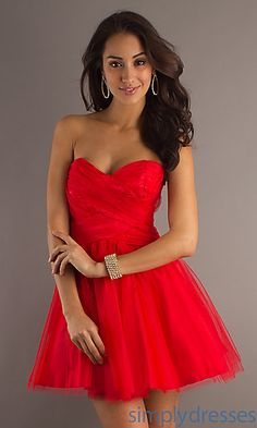 Strapless Short Red Party Dress by LA Glo at SimplyDresses.com
