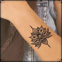 Temporary Tattoo Mandala Lotus Fake Tattoos Realistic Thin