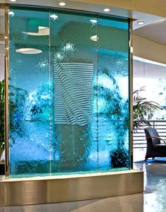 Arete and Associates Contemporary Water Feature, Glass Waterfall, Water Walls, Modern Glass, Water Features, Fountain, Indoor, Studio, Building