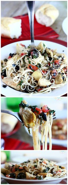 Johnny Carino's Angel Hair with Artichokes is a quick, flavorful and low-fat Italian dish loaded with fresh vegetables and tossed in a bed of pasta. Serve it with French bread and salad. Bakerette.com #vegan