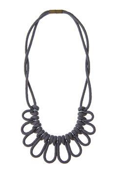 ParaCorda Scallops Macrame Choker Necklace - Gray/Silver Reversible by corda | CORDA