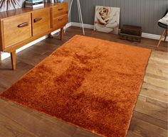 Hand-tufted Rust Orange Solid Shag Area Rug