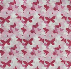 Pink Butterflies Cotton fabric 1 yard by emajblack on Etsy, $3.00