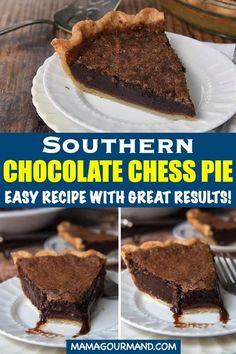 Chocolate Chess Pie, Chocolate Pie Recipes, Chocolate Custard, Chocolate Lovers, Easy Chocolate Pie, Best Chocolate Desserts, Easy Pie Recipes, Tart Recipes