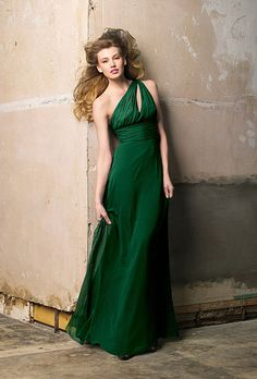 Style 183 Wtoo Bridesmaid Dress - One-Shoulder Green Crinkle Chiffon A-Line Dress with a Keyhole Detail