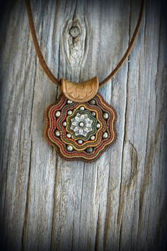 Boho polymer clay pendant on natural leather. Native design natural earthy by PeaceElements on Etsy. Polymer Clay Pendant, Polymer Clay Art, Polymer Clay Jewelry, Leather Jewelry, Boho Jewelry, Jewellery, Native Design, Boho Necklace, Necklaces