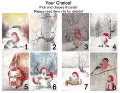 Christmas cards: You pick a set of 8 folded cards, envelopes included, pick and choose, Christmas, xmas, greeting card, seasons greetings by ArtLisbethThygesen on Etsy