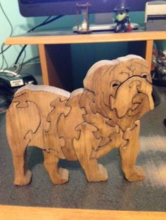 Wooden Bulldog Scroll Saw Puzzle - Handmade - 11 Pieces - Stained