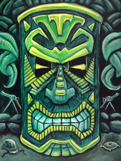 Canotiki-Tiki Painting 3 by rawjawbone tattoos pierna tattoos brazalete tattoos hombro tattoos women Hawaiian Art, Hawaiian Tattoo, Tiki Man, Tiki Tiki, Tiki Faces, Tiki Tattoo, Tiki Statues, Tiki Bar Decor, Tiki Totem