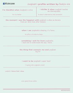 BTS Festa Profiles Written By Other Members (2016 ver.) - OMONA THEY DIDN'T! Endless charms, endless possibilities ♥