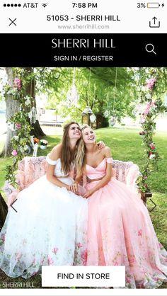 2017 Floral Printed Blush 51053 Off Shoulder 2 PC Sherri Hill Prom Dress Long Unique Prom Dresses, Prom Dresses For Sale, Long Wedding Dresses, 15 Dresses, Pretty Dresses, Beautiful Dresses, Fashion Dresses, Flower Girl Dresses, Bridesmaid Dresses