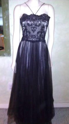 Vintage 1980s 90s Dress Prom/Party/Formal Maxi Sheer Black Lace Dave & Johnny  #DaveJohnny