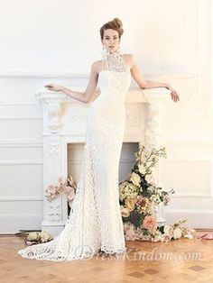 Vintage Sheath / Column High Neck Floor-length Sweep / Brush Train Lace Wedding Dress [10106480] - US$143.99 : DressKindom