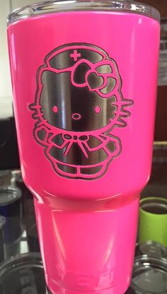Pink Hello Kitty Nurse Yeti.  Powder coated and laser etched.