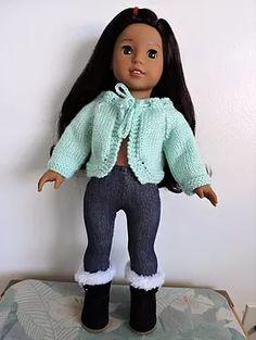 Dollie-Clothes free knitting doll patterns | Aqua Bolero Cardigan *NEW*
