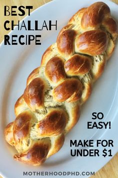 Challah bread is a comforting, slightly sweet, braided loaf that is SO affordable and easy to make at home! Find the best braided challah bread recipe here! Best Challah Recipe, Challah Bread Recipes, Easy Bread Recipes, Baking Recipes, Best Bread Recipe, Loaf Recipes, Baking Tips, Braided Bread, Jewish Recipes