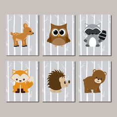 WOODLAND Nursery Art Baby Boy Nursery  Woodland Nursery Decor