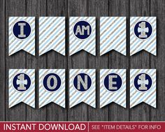 """Mr. ONEderful High Chair Banner - """"I AM 1"""" Mr One-derful Party Decorations - Printable Digital File - INSTANT DOWNLOAD by PuggyPrints"""