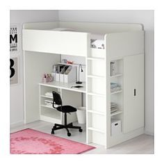 STUVA Loft bed with 2 shelves/2 doors, white - Twin - IKEA