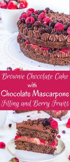 Čokoládová brownie torta s čokoládovým mascarpone krémom a ovocím Homemade Frosting, Homemade Cake Recipes, Best Dessert Recipes, Fruit Recipes, Fun Desserts, Baking Recipes, Delicious Desserts, Recipies, Yummy Food