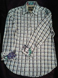 Robert Graham Mens Medium Button Up Shirt Striped Embroidered Flip Cuffs #RobertGraham #ButtonFront
