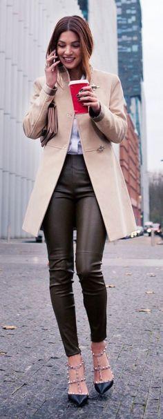 #winter #fashion / camel coat + leather