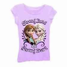 NWT Disney Frozen Purple Strong Bond Sisters Girls Small 4 Tee T-shirt **USA**