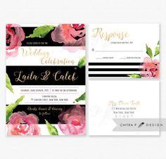 Black White Wedding Invitation & RSVP Postcard - Printed Or Printable, Pink Gold Watercolor Floral Kate Invite Rose Stripe Modern Green  #2299417 - Weddbook
