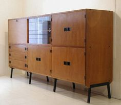 René-Jean Caillette; Wood and Metal Cabinets, 1950s.