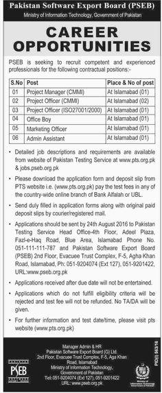 Jobs in Pakistan Software Export Board