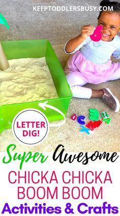 Super Awesome Chicka Chicka Boom Boom Activities and Crafts Sensory Activities For Preschoolers, Activities For 2 Year Olds, Learning Activities, Preschool Activities, Chicka Chicka Boom Boom, Fun Songs, Toddler Fun, Kids And Parenting, Parenting Ideas