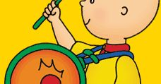 Caillou playing the drum
