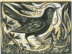 Blackbirds Crows Ravens: linocut for St. Jude's, by Mark Hearld. Ecole Art, Arte Popular, Wood Engraving, Linocut Prints, Woodcut Art, Woodblock Print, Limited Edition Prints, Bird Art, Printmaking