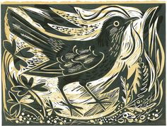"""""""Blackbird Ballindalloch"""" - a linocut print by Mark Hearld http://www.stjudesprints.co.uk/products/blackbird"""