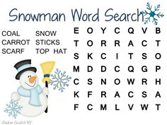 Christmas Word Searches � Snowman and Holiday Songs