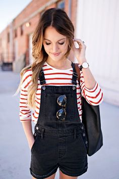 5b5372dba6 madewell overalls + tortoise sunglasses with red striped long sleeves top  tshirt