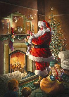 Old Time Christmas, Old Fashioned Christmas, Christmas Scenes, Noel Christmas, Vintage Christmas Cards, Christmas Pictures, Winter Christmas, Father Christmas, Christmas Ideas